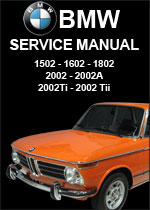 BMW 1502, 1602, 1802, 2002, 2002A, 2002Ti, 2002Tii Workshop Manual